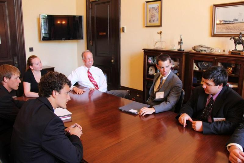 Sen. Moran visited with Kansas participants in the Bill of Rights Institute's Constitutional Academy