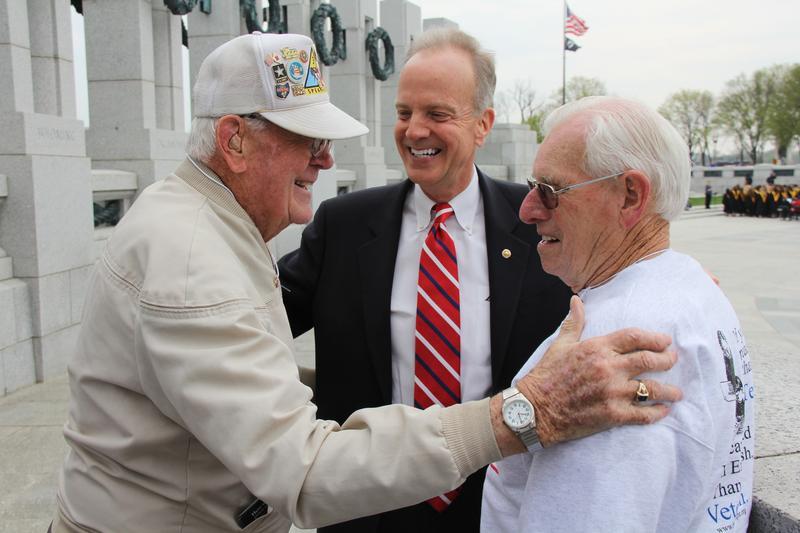 Senator Moran met with Veterans, in Washington with Honor Flight, at the World War 2 Memorial
